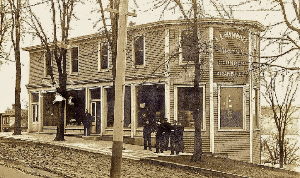 The structure was constructed in 1902 by LE Wambolt, a local tin smith in Lunenburgh. This picture is from 1905 and shows the men working in the building at this point in time.